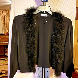 feather- trimmed Cardigan/Blazer light